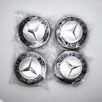 Hot Wheel Emblem Hub Center Caps Laurel Wreath Blue 75mm For Mercedes-Benz 4x