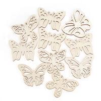 10pcs/set Hollow Butterfly Natural Wooden Button DIY Scrapbooking Home Decor