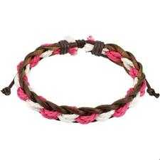 Brown Leather Wrist Band Striped Pink White 190 - 250 mm NEW Jewellery