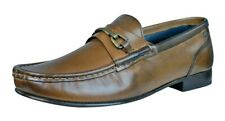 Base London Journal Men's Leather Slip On Loafers Shoes 01200 Brown UK Size 7
