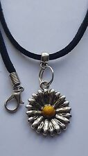 "SUN FLOWER TIBETAN SILVER PENDANT CHARM ON BLACK 3MM VELVET CORD  18""NECKLACE."