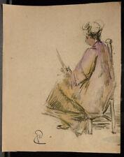 Peinture Original Aquarelle PAUL COUVREUR  -Dame à la Lecture- Vers 1930 - PC171