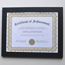 Modern black wooden frame for diploma/certificate with plexiglass