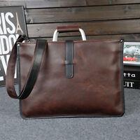 Vintage Men Briefcase Thin Leather Shoulder Messenger Bag Handbag Laptop Satchel