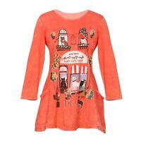 Jess & Jane Women's Cat Cafe Print Tunic Top, 2 Pockets 3/4 Sleeve Shirt, Pink