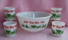1950's Hazel Atlas Milk Glass CHRISTMAS HOLIDAY Egg Nog Punch Bowl Set w/ 6 Cups