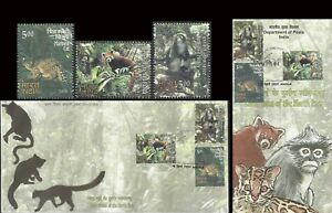 Rare Fauna India FDC Folder Monkey Primates Cats Red Panda wild animals wildlife