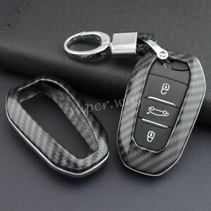 FOR Peugeot/Citroen/DS Carbon Fiber Hard Shell Smart Key Fob Chain Case Cover 4S