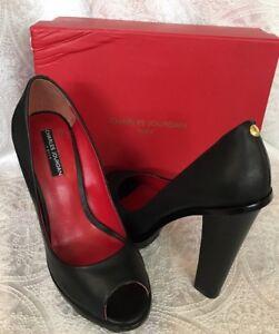 Charles Jourdan Shoe Black Open Toe Platform Pump NWB Size 10