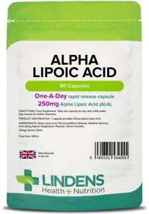 Alpha Lipoic Acid 90 Capsules Antioxidant 250mg Lindens