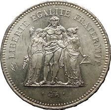 1978 France Liberté, égalité, fraternité HERCULES 50 Francs Silver Coin i52424