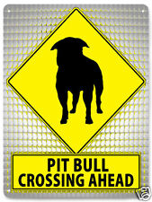 Pit bull terrier dog METAL STREET SIGN MANCAVE retro boys room wall decor 437