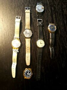 SWATCH LOT OF 6 MODELS USED AG 1994 1996 1998 2000 & 2004 USED