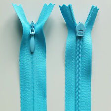 "56cm 22"" Inch Invisible Concealed Long Dress Zip - Alternative to YKK Light Turquoise"