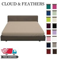 Luxury Soft Plain Dyed Extra Deep Fitted Sheets Single Double King Super King