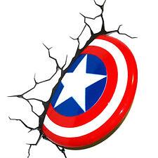 Hot! Nachtlampe Marvel Avengers Captain America Schild 3D LED Bett Wandleuchte