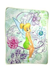 TINKERBELL Spring Green Floral Flower Blanket BIG 50x60 Fleece Throw Fairy EUC
