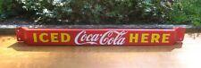"1953 ""Iced Coca-Cola Here"" Porcelain Door Push Bar ~ Original"