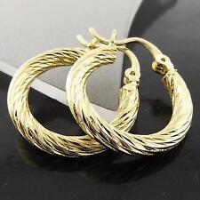 FSA033 GENUINE REAL 18K YELLOW G/F GOLD SOLID ITALIAN TWIST HOOP DROP EARRINGS