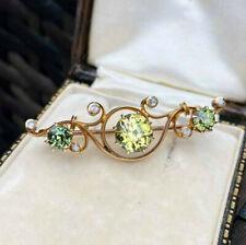 & rose-cut diamond brooch, C1901 Exquisite, Edwardian 18ct rose Gold, Peridot