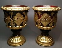 """2 Vintage Gold Leaf Accented 9-1/2"""" Pedestal Urn Planters Set 1997 CBK LTD Heavy"""