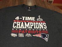 New England Patriots 4 Super Bowl Champs Dark Gray XL T Shirt NFL Team Apparel