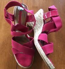 Bandolino Brand Women's Hot Pink Elastic Wedge Sandals. Size 8. *EUC*