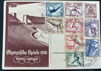1936 Berlin Germany Hindenburg Olympics Stamps & Stationery Postcard Cover