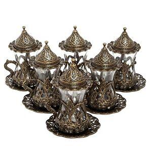 Coffee Set: 6 Cup Turkish Coffee Cup Set, Bronze Cups, Original Cast Copper | Tu