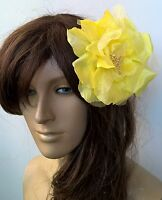 yellow satin flower fascinator millinery burlesque wedding hat bridal race