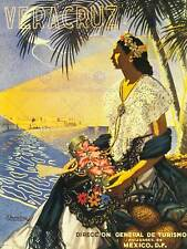 TRAVEL TOURISM VERACRUZ BEACH SEA SAND SUN TROPICAL MEXICO VINTAGE POSTER 2561PY