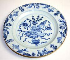 ASSIETTE EN PORCELAINE BLEUE. QUIANLONG. CHINE. XVIII-XIX.
