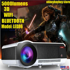 6000 Lumen WIFI Wireless 3D HD 1080P Home Theater HDMI Projector Android 4.4 OH