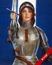 ST JOAN OF ARC FRENCH WOMAN MAID OF ORLEANS REAL CANVAS GICLEE 8X10 ART PRINT