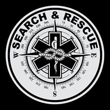 "Search & Rescue 3"" Round Reflective Decal Sticker Star of Life Compass Rope"