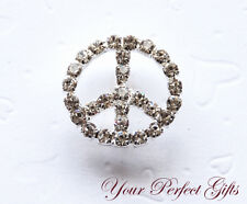 24mm Round Peace Sign Rhinestone Crystal Buckle Slider