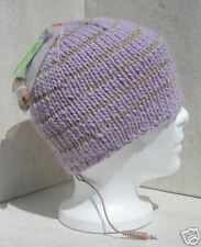 Bula Ladies Lavender/Gold Stripes Ipod/Mp3 Audio Ski Snowboard Beanie Hat