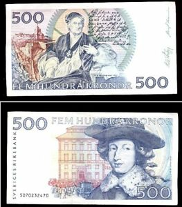 SWEDEN 500 KRONER P-58A 1985 KING KARL XI UNC HORSE CARRIAGE RARE DATE BANK NOTE