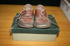 VINTAGE SHOES WITH BOX BROWN LEATHER OXFORD POLL PARROT CHILD BABY