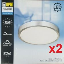 HPM Aura 18w LED Dimmable Ceiling Oyster Light 4000k Cool White Silver Finish