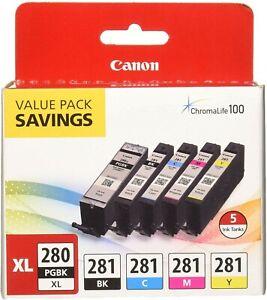 5-Pack Genuine Canon Ink 280XL=High-Yield Black BCMY=281 2021C007 PIXMA NIOB