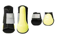 Gamaschen + Streichkappen Neon Reflex Harrys Horse 4er Set gelb NEU