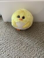 "Ty Beanie Ballz Eggbert Chick 5"" Beanbag Stuffed Plush Ball Yellow"