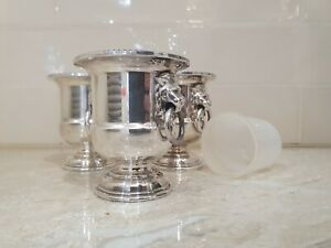 Viners Of Sheffield Silver Minature Urn Lions Head Silver Plated Set of 3
