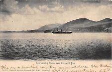 c.1905 Ship & Approaching Storm Cornwall Bay Cornwall NY postcard Orange county