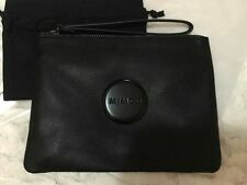 Mimco Black Matte Leather Medium Pouch Clutch Wallet Purse Love FREE Post BNWT