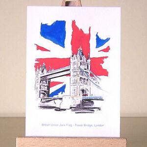 London ACEO art card Tower Bridge and British Union Jack flag drawing and a bus!