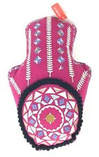 """OPALHOUSE Accent Pillow Boho Pink Embroidered 18"""" Decorative Hand Shaped NWT"""