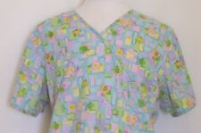Nurse Scrub XL SB Scrubs Flowers Squares Tie In Back Medical Uniform Hospital