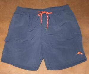 "TOMMY BAHAMA Relax Large Cargo Blue Swim Trunks Shorts Mesh Lined Waist 32"" Mens"